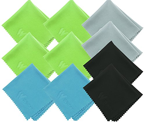 (10 Pack) Winbee Microfiber Cleaning Cloth for Lens, Eyeglasses, iPad, iPhone, Mac, Cell Phone, Tablets, Laptop, Glasses - Safe and Lint-Free Cleaner Cloths to Clean Camera Lenses, LCD TV Screens