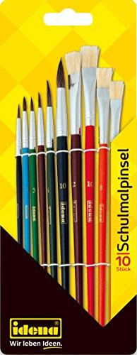Idena 626052 - Schulmalpinsel, 10-teilig, verschiedene Haar- und Borstenpinsel, lackiert, 1 Set