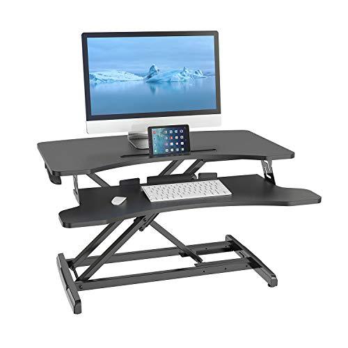hjh OFFICE Sitz-Steh 802113 - Inserto da scrivania VM-SA, in acciaio, 83 x 43 cm, con ripiano per tastiera, regolabile in altezza con molla a gas