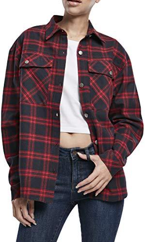Urban Classics Damen Ladies Oversized Overshirt Hemd, midnightnavy/red, L