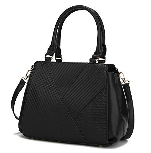 MKF Crossbody Satchel Bags for Women - PU Leather Handbag Purse - Shoulder Strap, Lady Tote Fashion Pocketbook Black