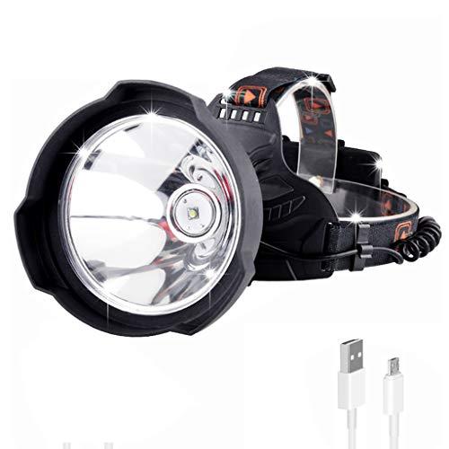 ZQQ Linternas Frontales, Linterna Súper Brillante Carga USB Resistente Al Agua 3 Tipos De Modo De Iluminación Faros De Gran Apertura, Adecuados para Acampar Senderismo