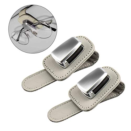 Funmit Car Sunglass Holder Leather Gray Glass Ticket Card Clip for Car Visor,Pack of 2