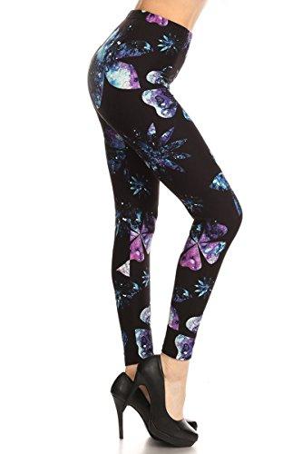 R699-EXTRAPLUS Galaxy Floral Print Fashion Leggings