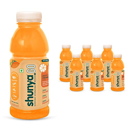 Shunya Go Zesty Orange | Sugar Free Flavoured Drink | Immunity-Boosting | 0 Calories & 0 Preservatives | Everyday Hydration – Vitamins, Minerals & Electrolytes | 4 Super Herbs | Pack of 6 (300ml X 6)