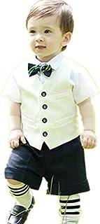 子供タキシード キッズ服 男の子ベビー衣装 ズボン、シャツ、ベスト、蝶結び 4点セット 卒業式/入園式/発表会/七五三 80~140cm