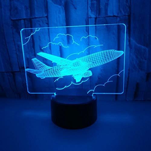 Avión en el cielo lámpara de escritorio LED multicolor acrílico 3d luz nocturna decoración regalo
