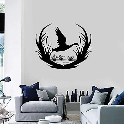 Calcomanía de vinilo para pared, tienda del club de caza, pato, pájaro salvaje, lago, etiqueta de la ventana, arte mural, decoración de interiores, papel tapiz de la casa