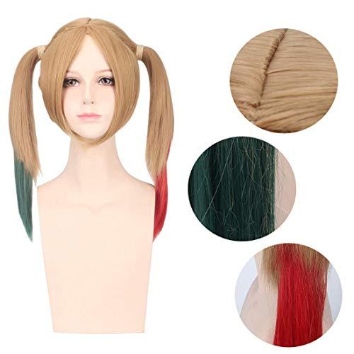 Hpparty Harley Quinn Pruik Cosplay Blond, Gemengde Kleur Roze en Blauw Golvend Krullend Haar Pruiken voor Halloween Party Vrouwen Meisje