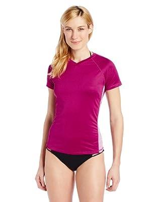 Kanu Surf Women's UPF 50+ Short Sleeved Active Swim Shirt Rashguard & Workout Top (Regular & Extended/Big Sizes), Purple/Pink, X-Large