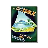 XNHXPH Chile World Vintage Travel Poster and Prints Paisaje Lienzo Pintura Moda Arte de la Pared Mod...
