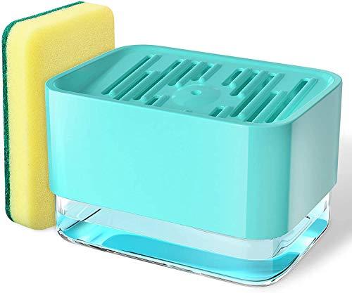 Dispenser Sapone Liquido Manuale con Spugna, 3 in 1 per Piatti Dispenser Detersivo Piatti Porta Spugna Erogatore Sapone Piatti Distributore Detersivo Piatti