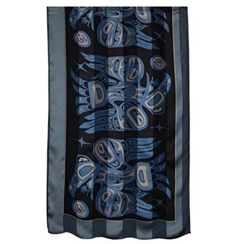 Raven Steals the Light Silk Satin Stripe Scarf in Blue designed by Bill Helin