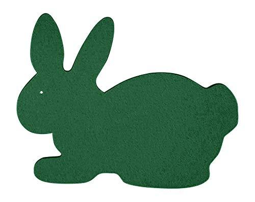 Filz-Untersetzer Hase sitzend Ostern 21x16cm – 2-Stück-Set. Erhältlich in 18 Farben | 3mm starker Polyester-Textilfilz waschbar Handarbeit (tannengrün)