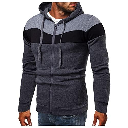BIKETAFUWY Sudadera para hombre de moda con capucha, corte ajustado, bloque de...