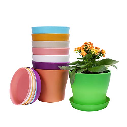 """Alotpower Plastic Planters Indoor Set of 8 Flower Plant Pots Decorative Gardening Pot with Drainage and Saucer for All House Plants, Herbs, Foliage Plant, and Seeding Nursery Pots (4"""", Multicolor)"""