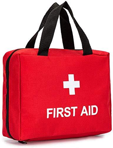 Bolsa de primeros auxilios con cremallera vacía bolsa de rescate de viaje de primera respuesta organizador de medicina para emergencias (solo bolsa) (rojo)