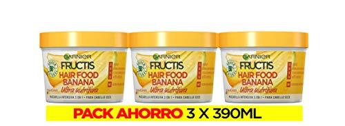 Garnier Fructis Hair Food Mascarilla 3 en 1 Banana Nutritiva, indicada para Pelo Seco - Pack de 3 unidades x 390 ml