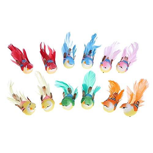 12 pájaros de espuma y plumas artificiales para decoración del hogar o...