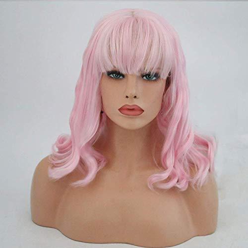CHHD Perruque,Perruques Roses avec Frange Avant De Lacet Perruques Courtes Ondulées Avant De Lacet Perruque Synthétique Rose pour Les Femmes Longueur