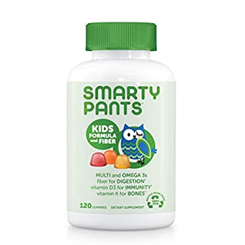 SmartyPants Kids Formula & Fiber Daily Gummy Multivitamin  Fiber for Digestive Health Vitamin C D3 & Zinc for Immunity Omega 3 Fish Oil  EPA & DHA  B6 Methyl B12 120 Count
