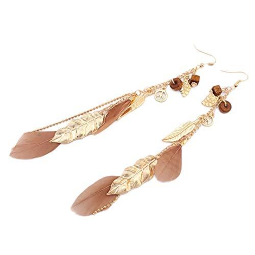 teng hong hui 1 Pair Summer Elegant Bohemian Vintage Feather Dangle Women feather earrings Leaves Earrings Girl Leaves Drop Hanging Earrings Long Earrings