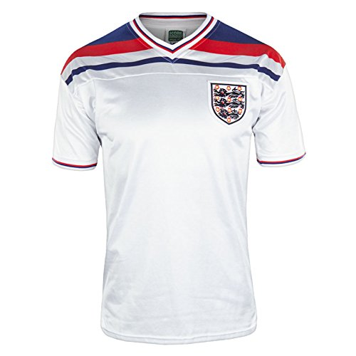 England Official Soccer Gift Mens 1982 World Cup Finals Home Shirt White LGE.
