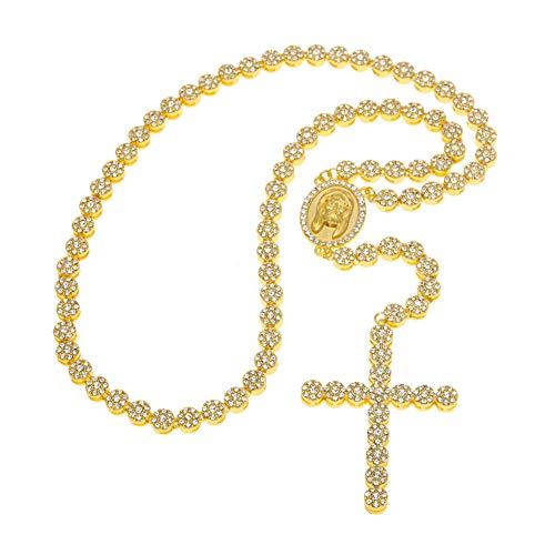 Rap joyas de Europa y los Estados Unidos, moda clásica, hip hop, joyería redonda de Jesús, collar de costura, cruz, rosario (oro, plata)