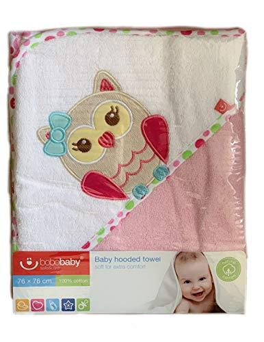 Handdoek met capuchon geborduurd met naam en geboortedatum / 76x76 cm/knuffelzacht / 1A kwaliteit / 100% katoen Roze - uil