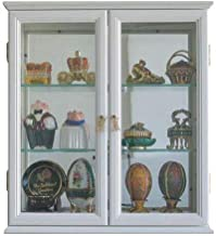 Small Wall Mounted Curio Cabinet/Wall Display Case with Glass Door (White)
