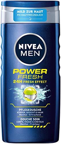 Nivea Men Power Fresh verzorgende douchegel (250 ml), vitaliserende douchegel met menthol en watermunt, pH-huidvriendelijke douche voor lichaam, gezicht en haar.