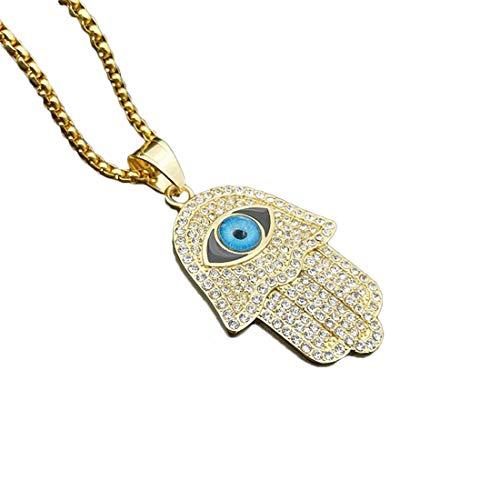 Easondea Hand der Fatima Halskette Böser Blick Stein Collier für Damen Herren Anhänger mit 55cm Kette Islamisch Muslim Religiöser Schmuck Edelstahl