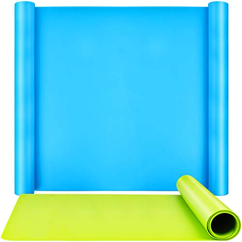 2 Pack 59.5 x 49.5 cm Oversize Silicone Mats for Crafts, LEOBRO Thick Nonstick Silicone Craft Mats for Resin Molds, Multipurpose Silicone Mats for DIY Crafting Painting, Blue & Green