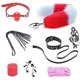7 Stück/Set Sex Fluffy Kunstpelz Schwanz Metall Ânâl Plụģ Set Back Bundle mit Mundball Séx Ṫọy Anfänger Starter Kits