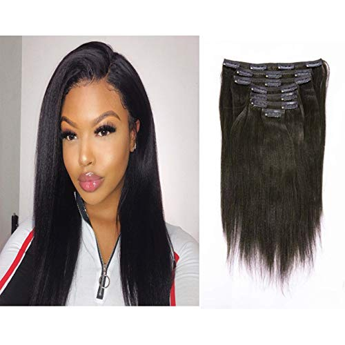 100% Real Human Hair Clip In Hair Extensions Yaki Straight Remy Virgin Hair Clip Ins Italian Thick Straight Full Head Natural Color African Americans For Black Women 7pcs/set 120g/set 14 Inch