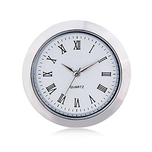 ShoppeWatch Mini Clock Insert Quartz Movement Round 1 7/16' (35mm) Miniature Clock Fit Up White Face Silver Tone Bezel Roman Numerals CK097SL