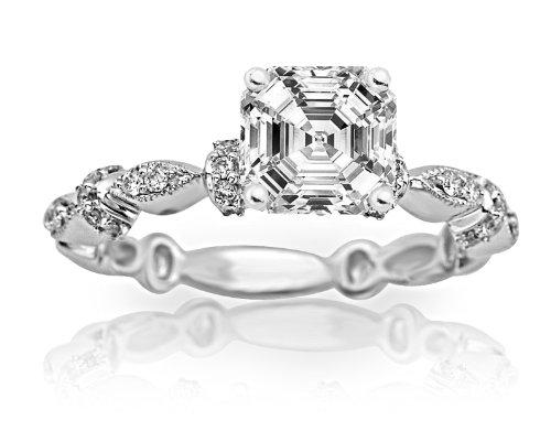 0.68 Carat Petite Modern Diamond Engagement Ring (H Color, VS2 Clarity Center Stones) - Asscher Cut