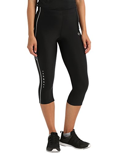 Ultrasport, Pantalones deportivos 3/4 para Mujer, Negro/Blanco, L