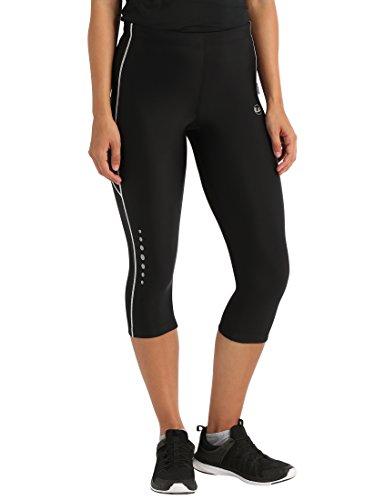 Ultrasport, Pantalones deportivos 3/4 para Mujer, Negro/Blanco, XS