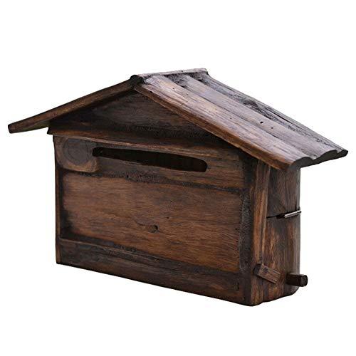 Briefkasten Wandbriefkästen An Der Wand Montiert Rustikal Briefkasten Postkasten Letterbox Hölzern, Briefkastenhalter Außerhalb Hängendes Dekor für Haus, Veranda