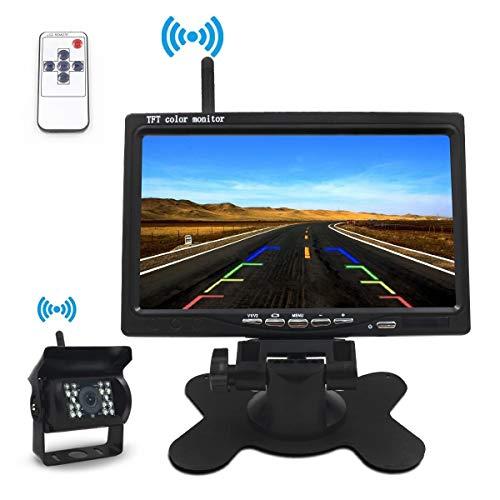 """Kit retromarcia monitor 7/""""specchietto retrovisore telecamera CCD BIANCA wireless"""