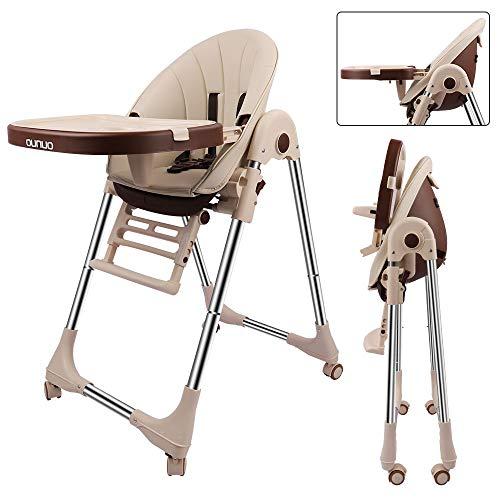 OUNUO Baby Hochstuhl Vertehllbar und Klappbar Kinderhochstuhl mitwachsend Kindersitz Kinderstuhl mit Sicherheitsgurt 6 Monaten bis 6 Jahre PU Leder Kissen Beige