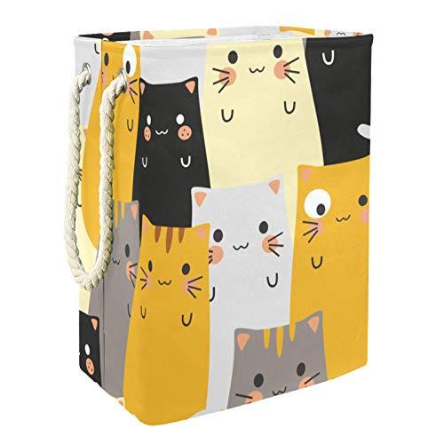 EZIOLY Cesta de lavandería con diseño de carita de gato hipster con asas y soportes desmontables, resistente al agua para la ropa, juguetes, organización en la sala de lavandería, dormitorio