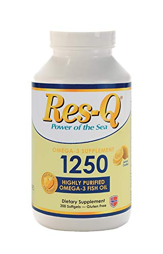 Res-Q 1250 Omega-3 Lemon Coated Fish Oil 200 Capsules by ResQ