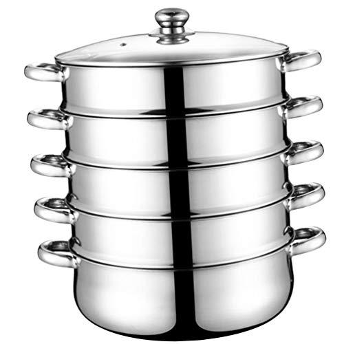 YARNOW Acero Inoxidable Steamer Set 5 Tier Steamer Pot Olla de Cocina con Tapa Steamer Pan Set for Home