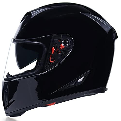 Tbagem-Yjr Adulto Cascos Flip Up Motocicleta, Casco Moto Modular ECE 22-05 Aprobado Incorporado Doble Visera Anti Niebla HD Reducción De Ruido Negro Brillante M-XXL (Color : Black, Size : XXL)