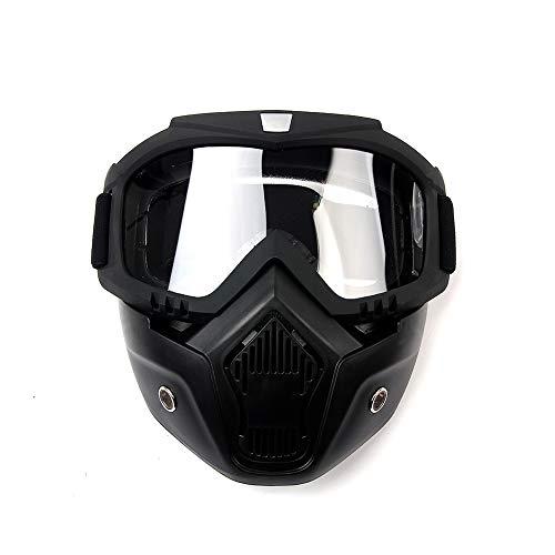 League & Co schwarze Maske und Brille für Motorradhelm, Motorrad, Gesichtschutz, TPU, verstellbar (Linse transparent)