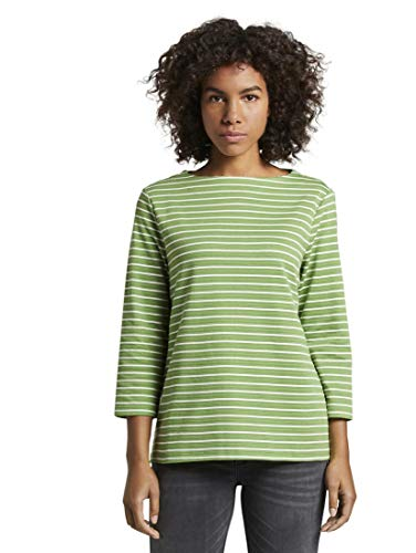 TOM TAILOR Damen Strick & Sweatshirts Gestreiftes Ottoman Sweatshirt Green horizontal Stripe,XL