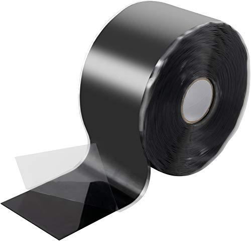 Poppstar 11m selbstverschweißendes Silikonband, Silikon Tape Reparaturband, Isolierband und Dichtungsband (Wasser, Luft), 50mm breit, schwarz