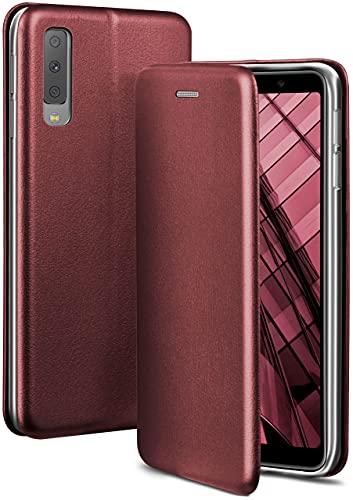 ONEFLOW Handyhülle kompatibel mit Samsung Galaxy A7 (2018) - Hülle klappbar, Handytasche mit Kartenfach, Flip Hülle Call Funktion, Leder Optik Klapphülle mit Silikon Bumper, Weinrot